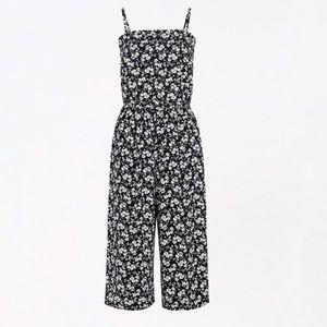 🆕Plus1X Black Dainty Floral Smocked Neck Jumpsuit